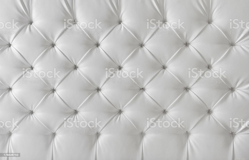 Leather Upholstery White Sofa Texture, Tufted Upholstery Background stock photo