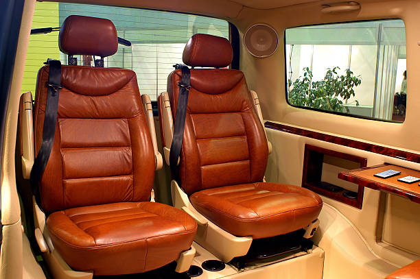 Leather vehicle seats stock photo