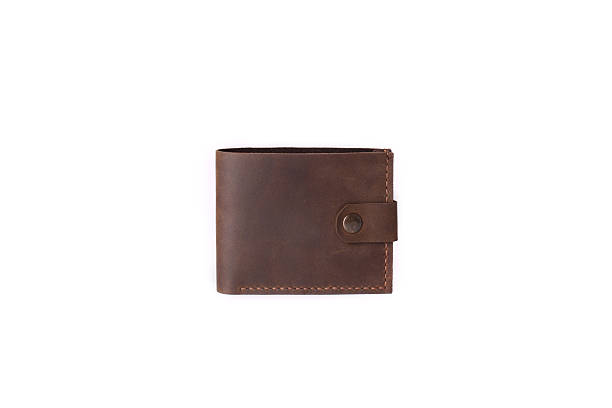 leather wallet on a white background - wallet stock pictures, royalty-free photos & images