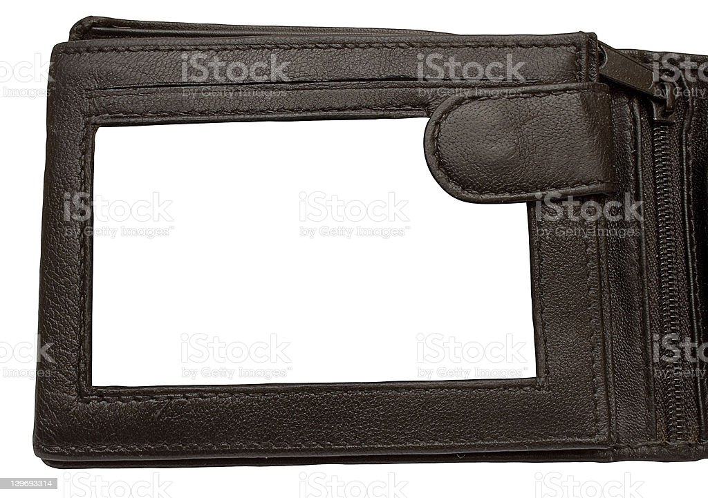 Leather Wallet Picture Frame w/ Path stock photo