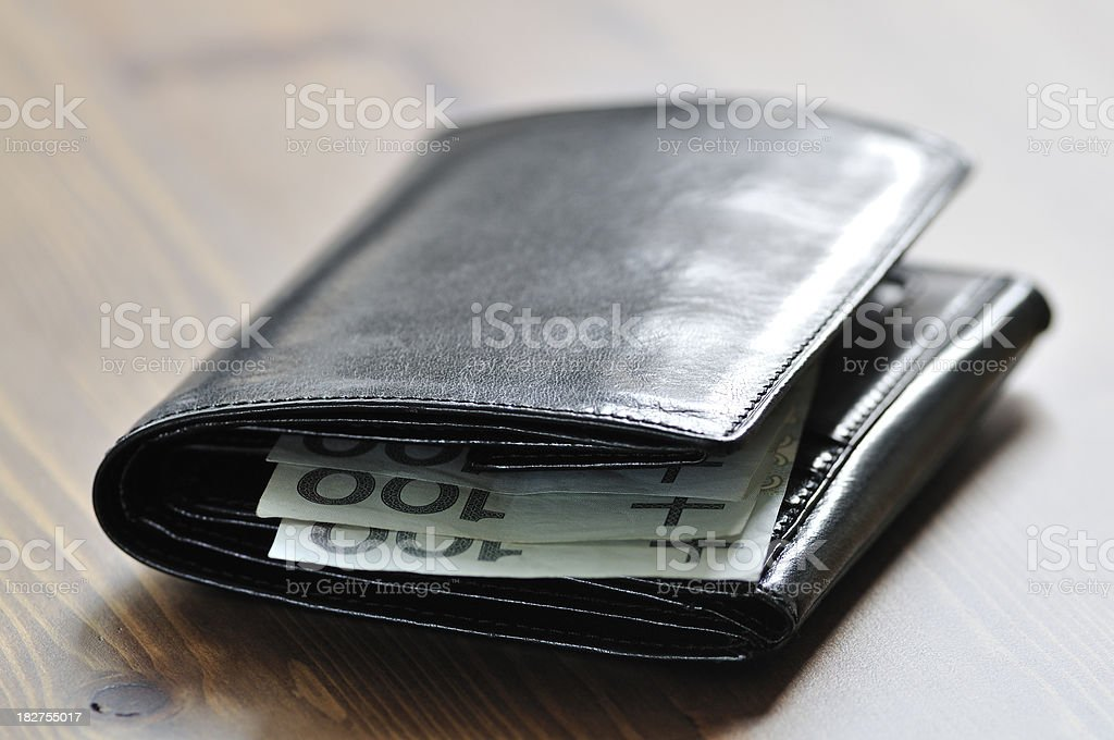Elegance black leather wallet with polish currency inside lies on...