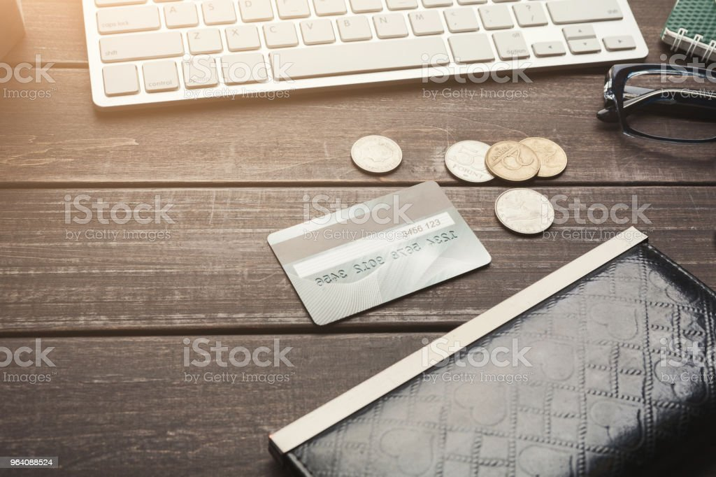 Leather wallet with money and laptop keyboard - Royalty-free Bank - Financial Building Stock Photo