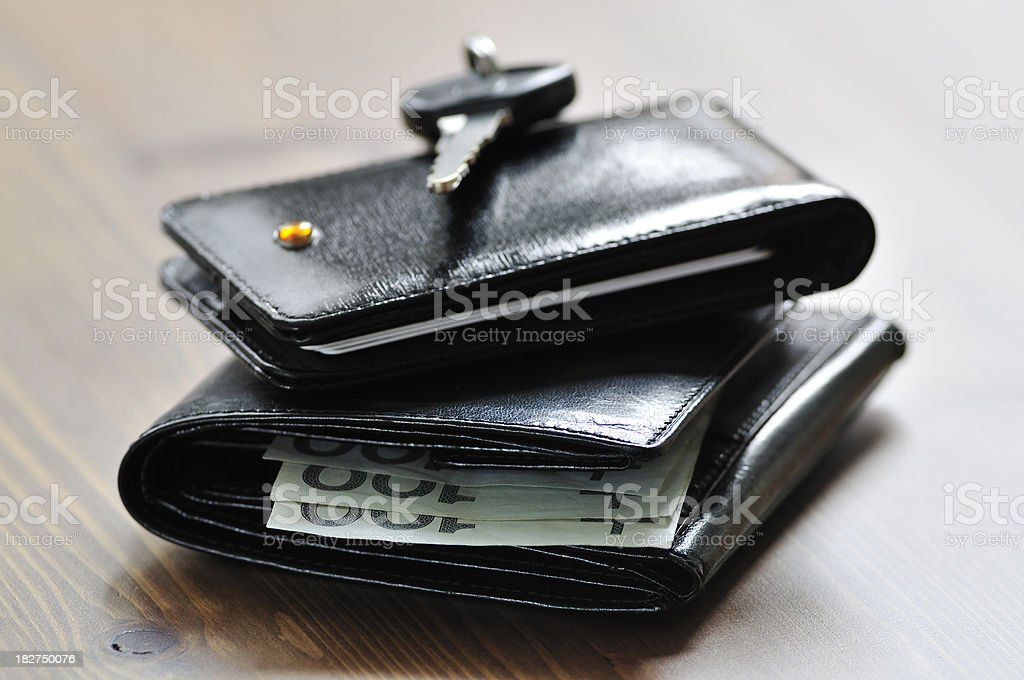 leather wallets and key stock photo