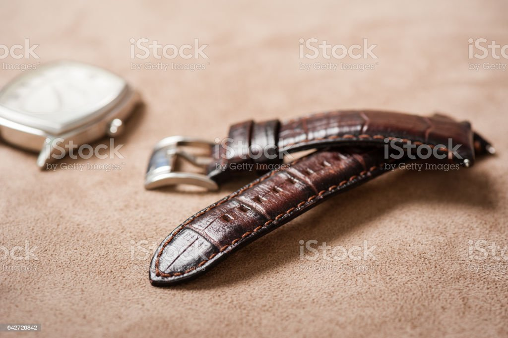 leather watch band stock photo