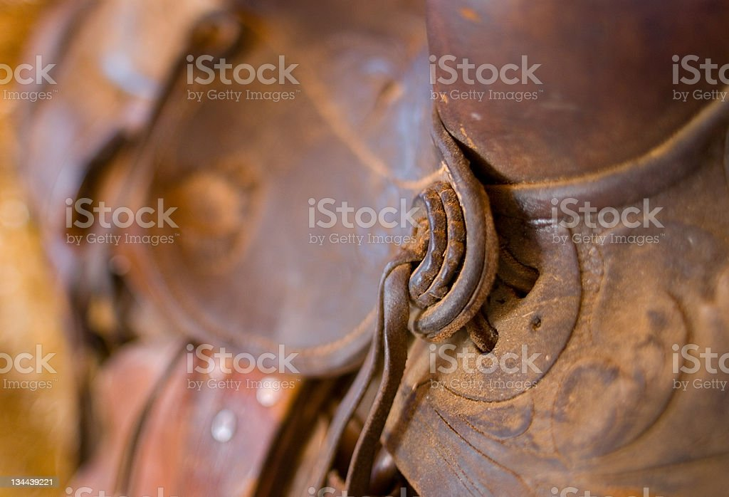 Leather Western Horse Saddle Closeup Detail royalty-free stock photo