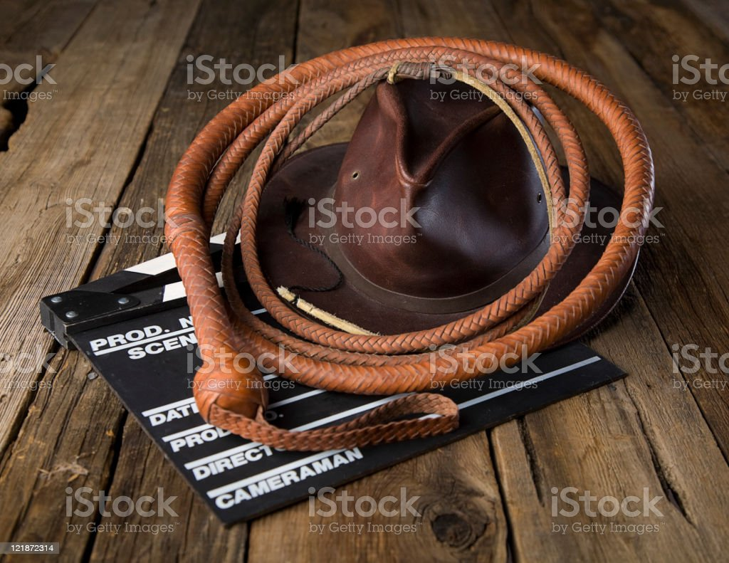 Leather Whip and Hat stock photo