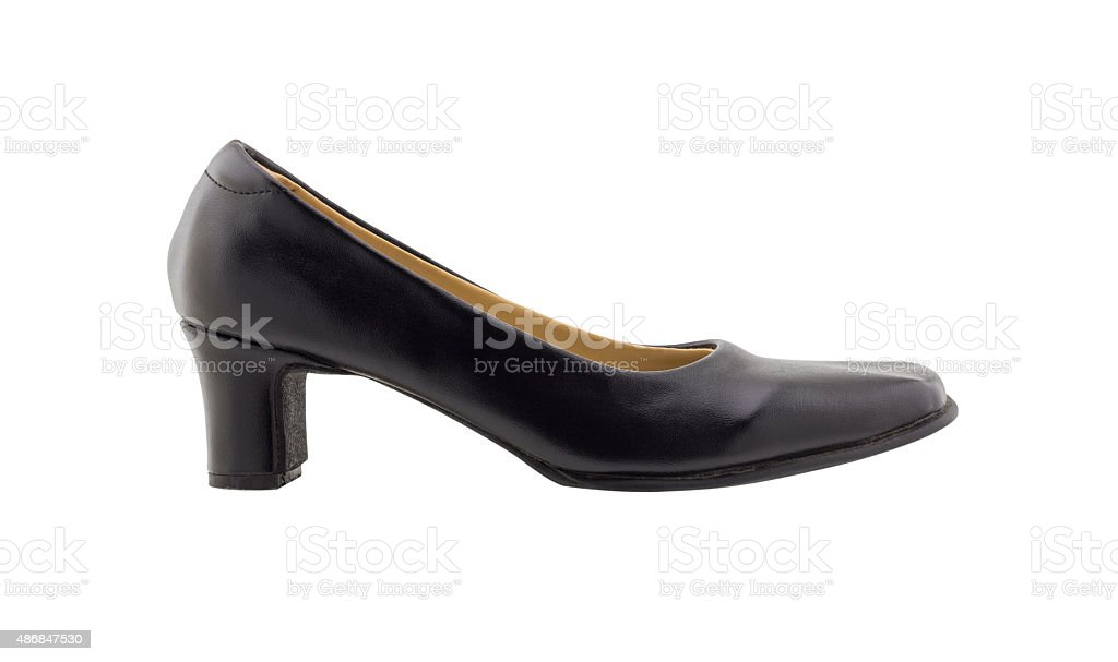 Leather woman shoes isolated on white background stock photo
