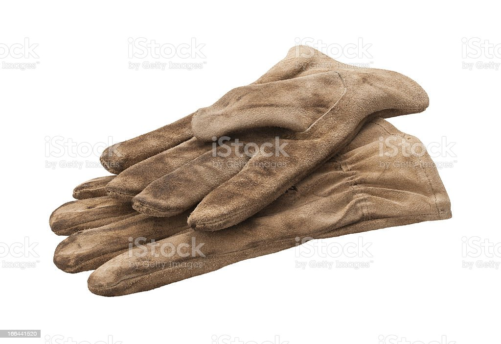 Leather Work Gloves Isolated with clipping path. stock photo