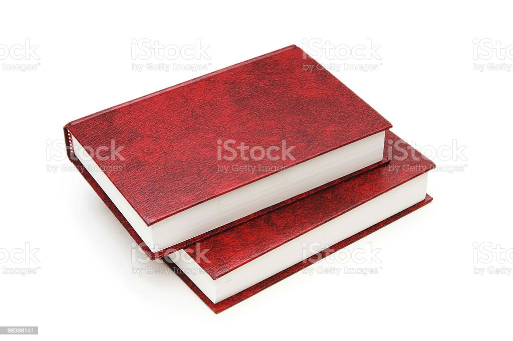 Leather-bound books isolated on the white background royalty-free stock photo