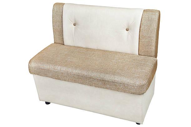 leatherette dining bench with  light brown color - gepolsterte bank stock-fotos und bilder