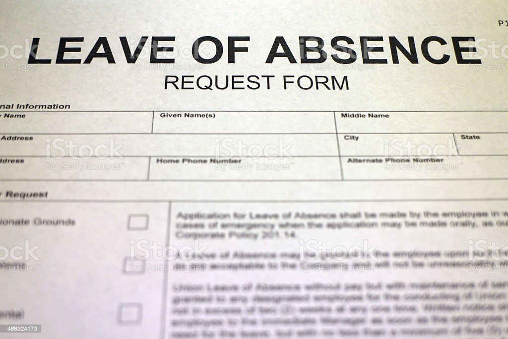 Leave Of Absence Request Form Stock Photo  More Pictures Of Absence