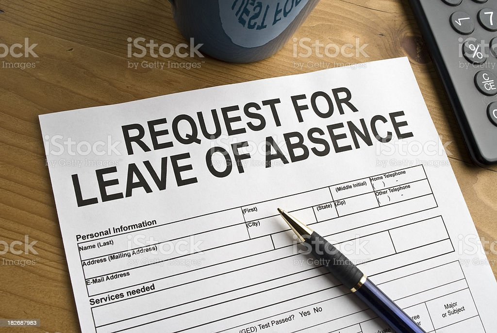 Leave of Absence request stock photo