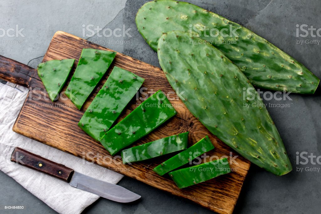Leave of cactus nopales. Mexican food and drink ingredient. top view stock photo