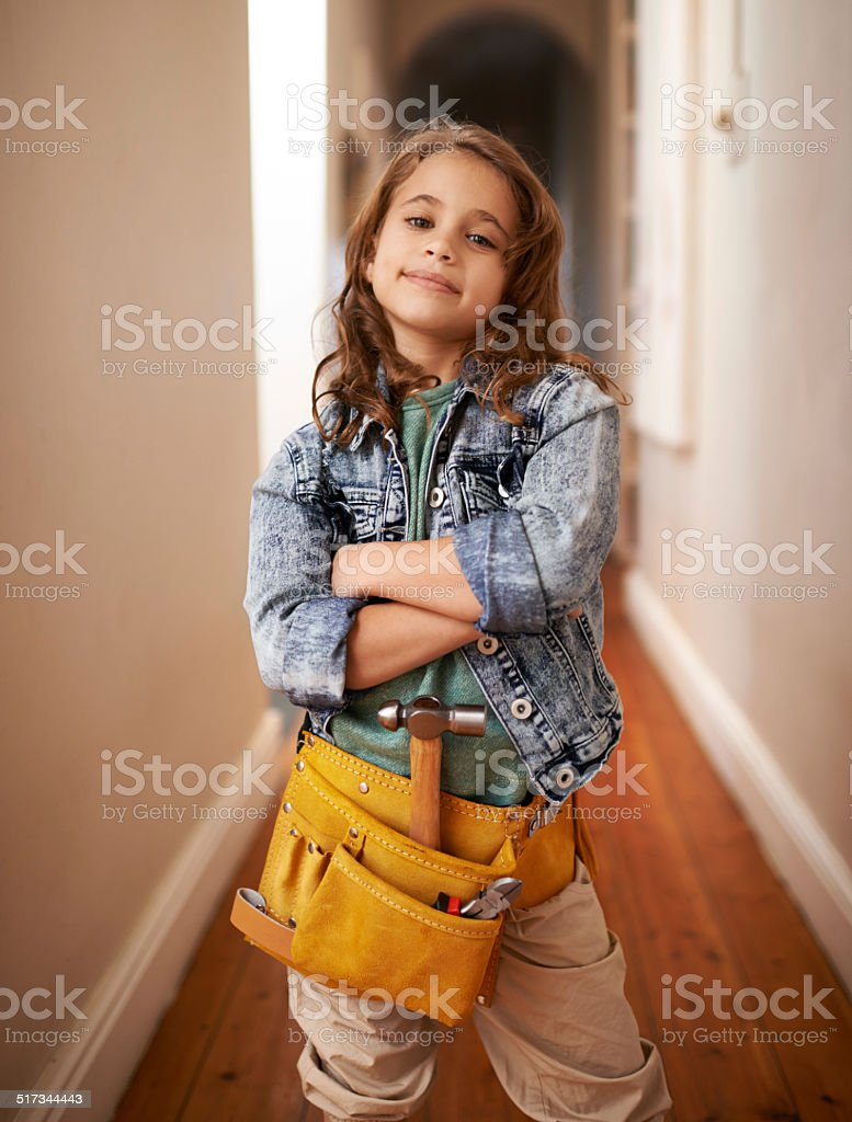 Leave the handy work to her stock photo