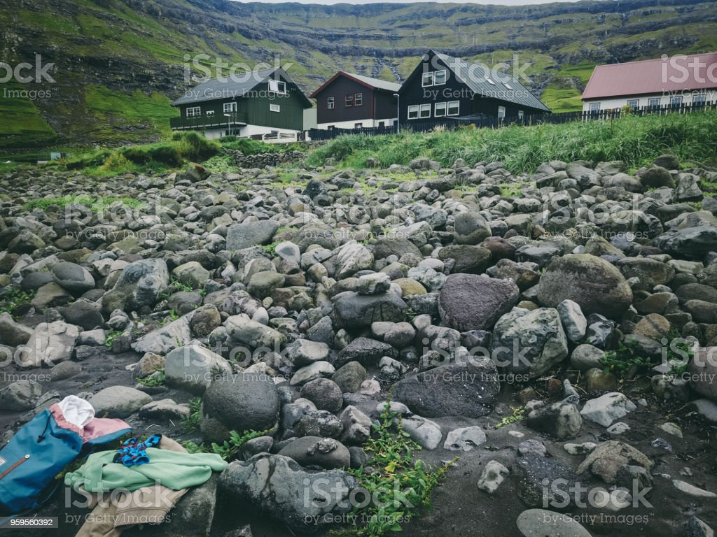 Leaved stuff and old houses on Faroe Islands stock photo