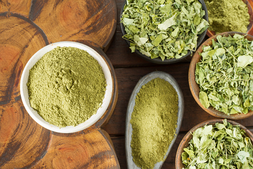 Leaves And Moringa Powder Stock Photo & More Pictures of Advertisement