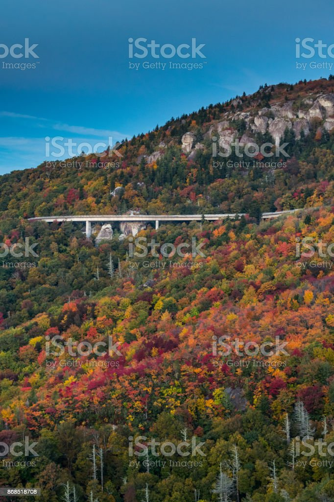 Leaves Changing Color Around Linn Cove Viaduct stock photo