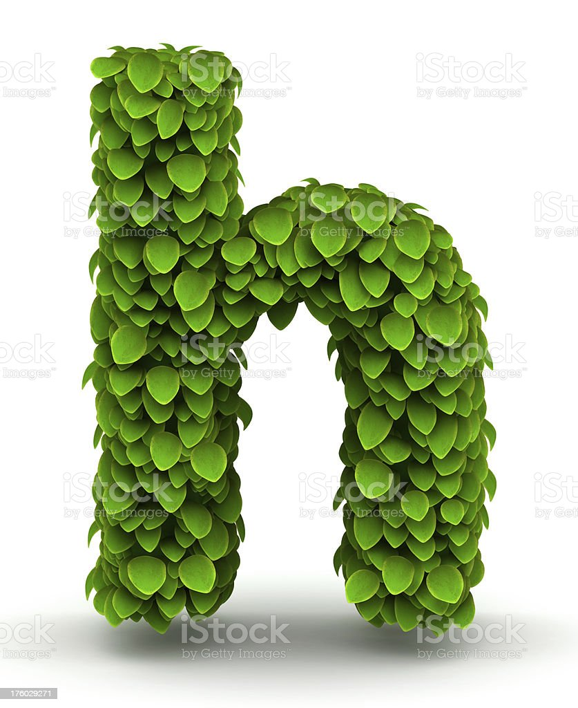 Leaves font letter h lowercase royalty-free stock photo