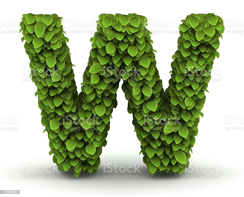 Leaves font letter W royalty-free stock photo