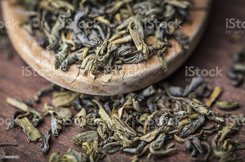 leaves of green tea royalty-free stock photo