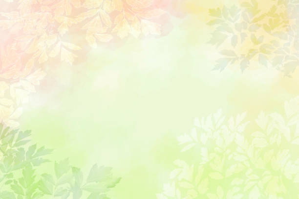 Leaves Vignette Background on Pastel Colors - Copy Space stock photo