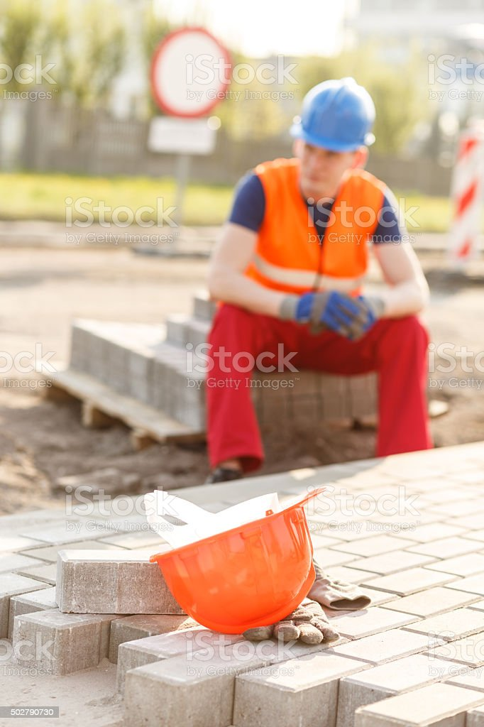 Leaving a construction site stock photo