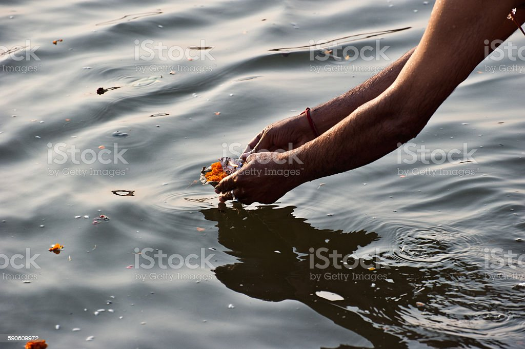 Leaving a flower offer in the Ganges, Varanasi stock photo