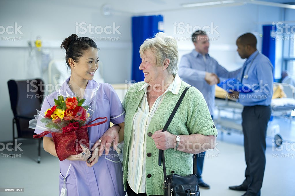 leaving hospital stock photo