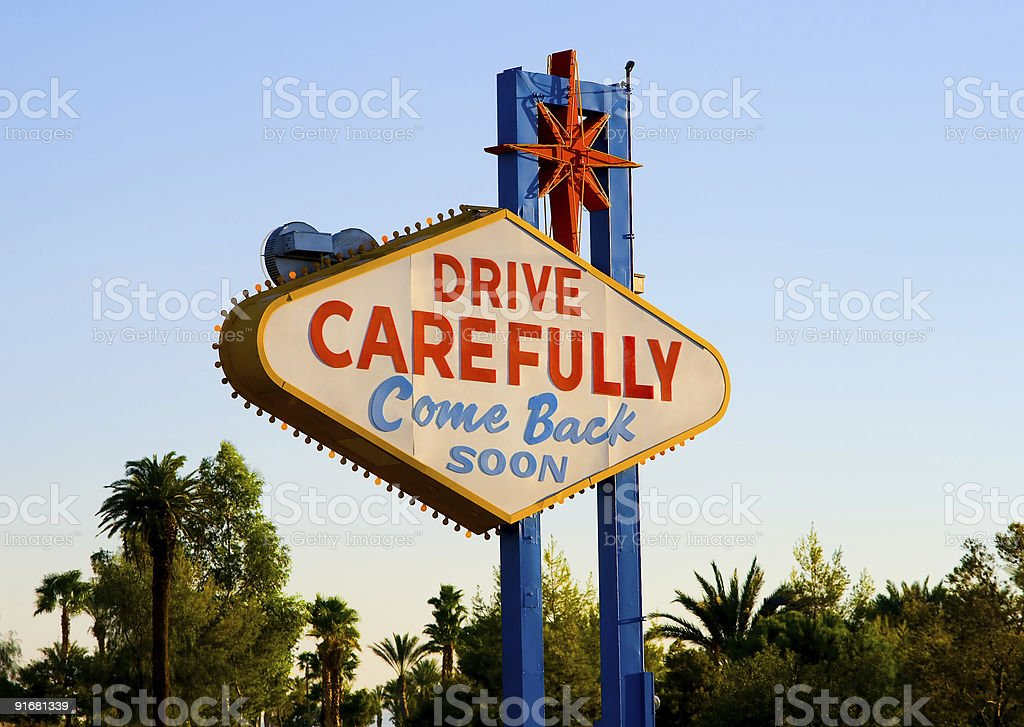 Leaving Las Vegas Come Back Soon sign stock photo