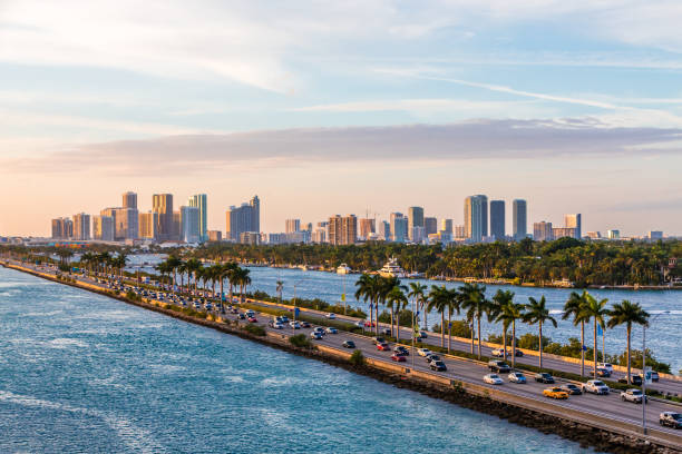 Leaving Miami View of Biscayne Bay in Miami Florida miami beach stock pictures, royalty-free photos & images