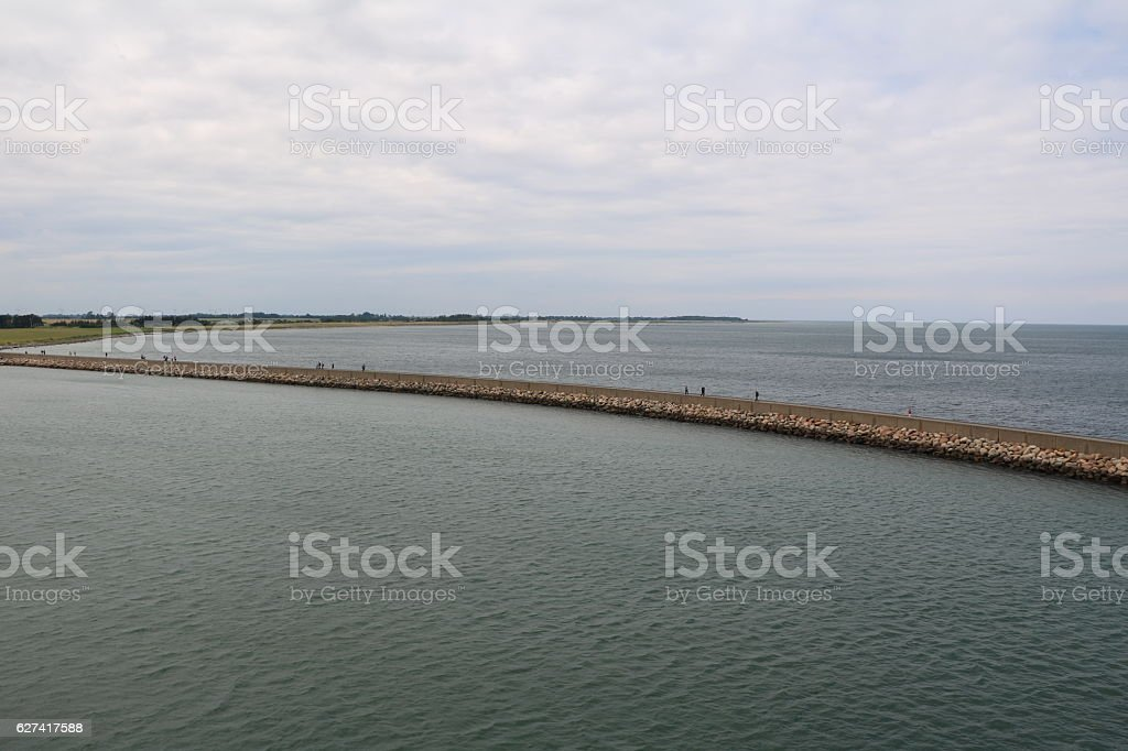 Leaving port Puttgarden at Island Fehmarn Germany by ferry stock photo