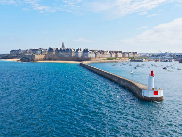 leaving st malo in the morning sunshine - english channel stock pictures, royalty-free photos & images