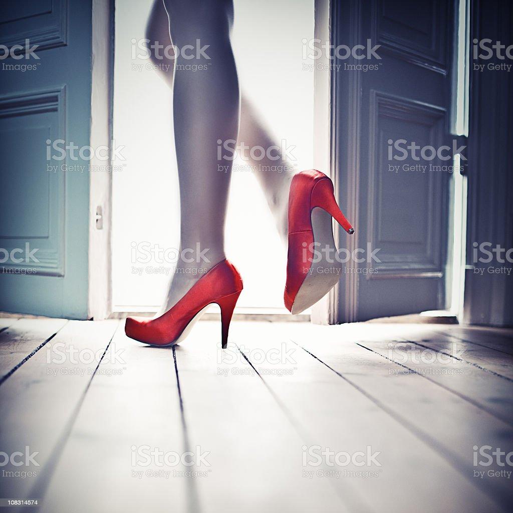 Leaving through the door stock photo