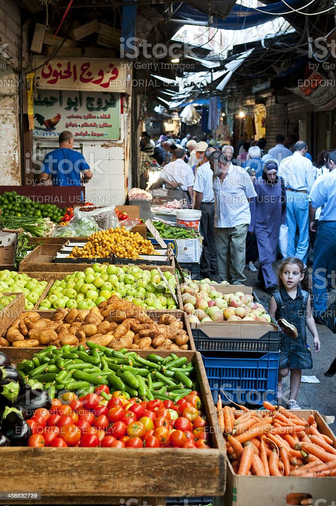 Lebanese souk and produce in Tripoli, Lebanon royalty-free stock photo