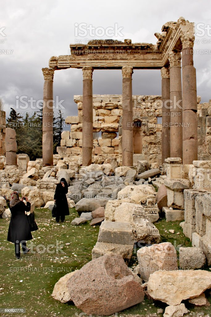 Lebanon, February 14th, 2011 - Baalbek - ruins of the ancient Phoenician city; stock photo