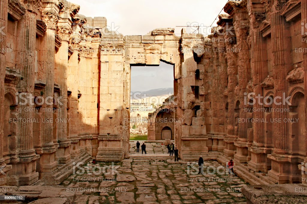 Lebanon; February 14th, 2011 - Baalbek - ruins of the Bacchus temple in the ancient Phoenician city stock photo