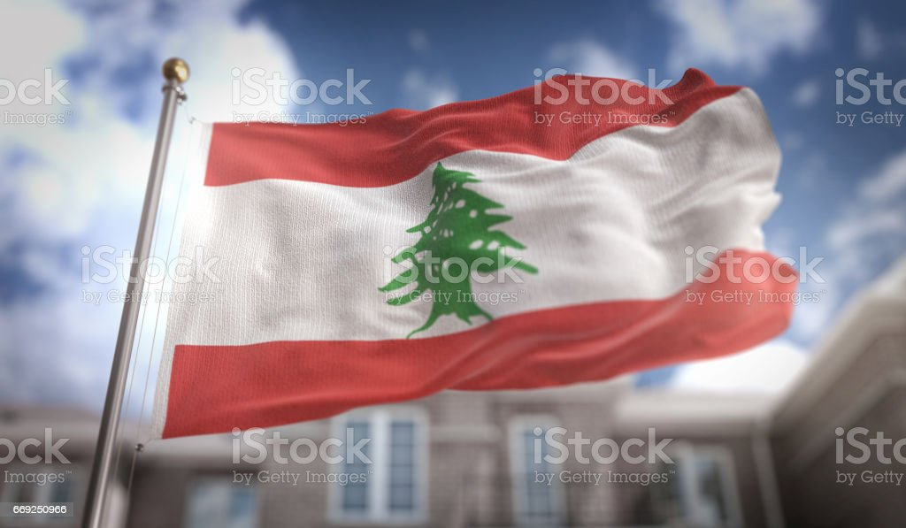 Lebanon Flag 3D Rendering on Blue Sky Building Background stock photo