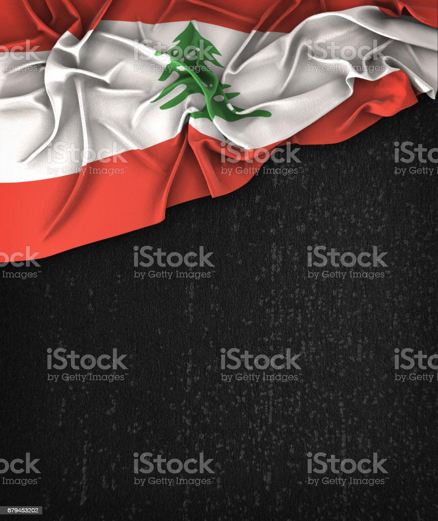 Lebanon Flag Vintage on a Grunge Black Chalkboard With Space For Text royalty-free stock photo