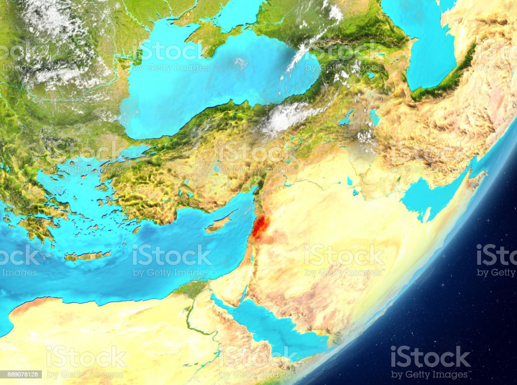 Lebanon from space stock photo