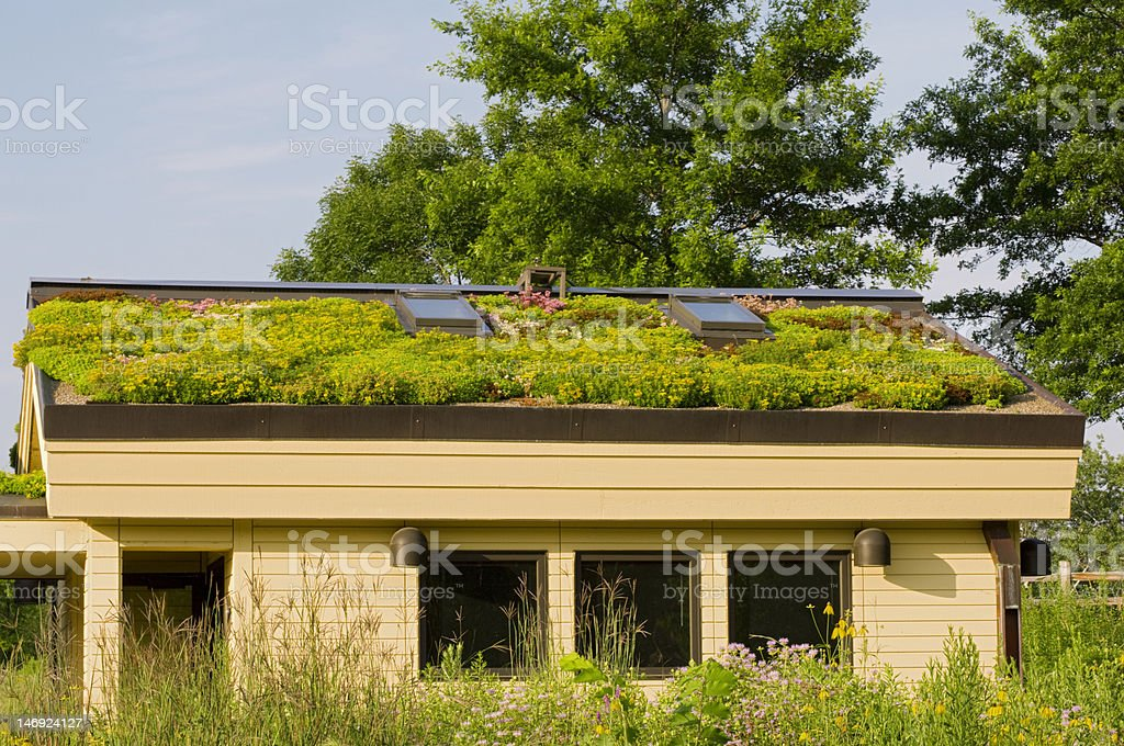 Lebanon Hills Green Roof and Gardens Photo of Lebanon Hills Visitor Center rental building in Eagan Minnesota with gardens and  green roof in bloom Architecture Stock Photo