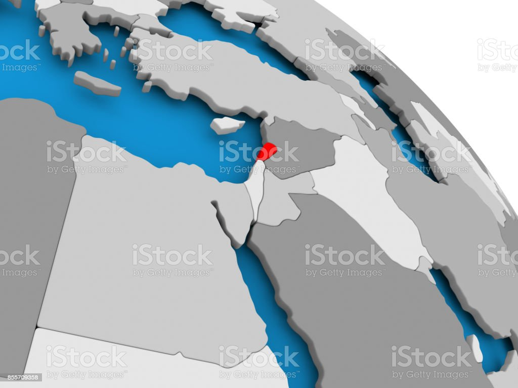 Lebanon in red on map stock photo
