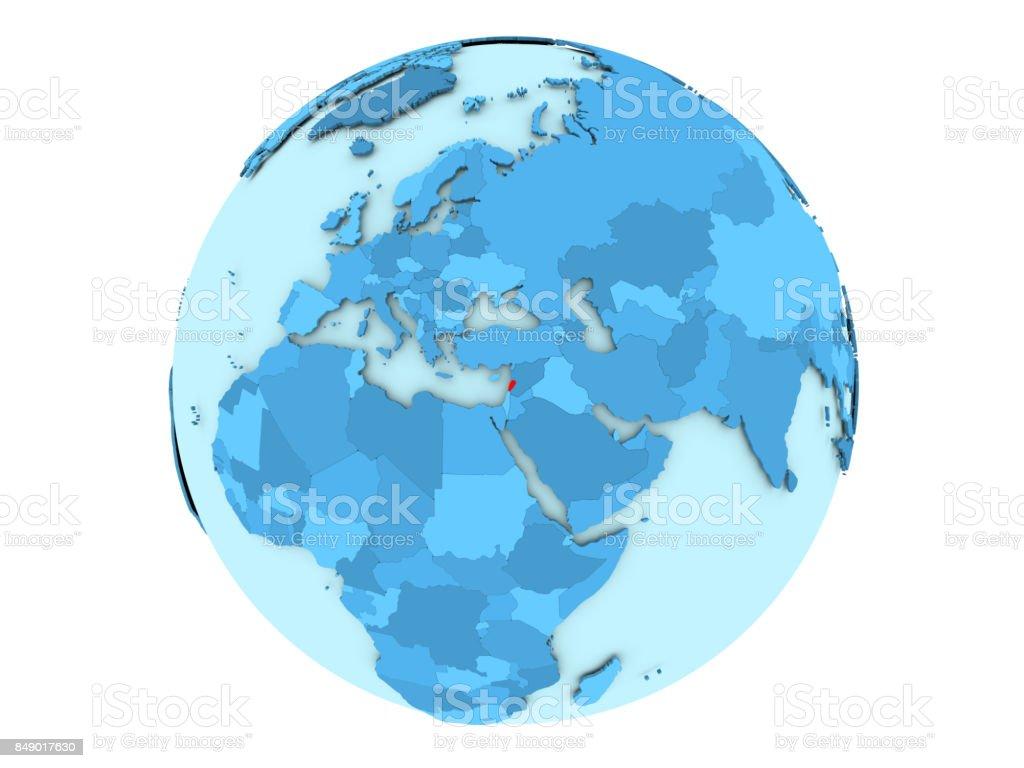 Lebanon on blue globe isolated stock photo