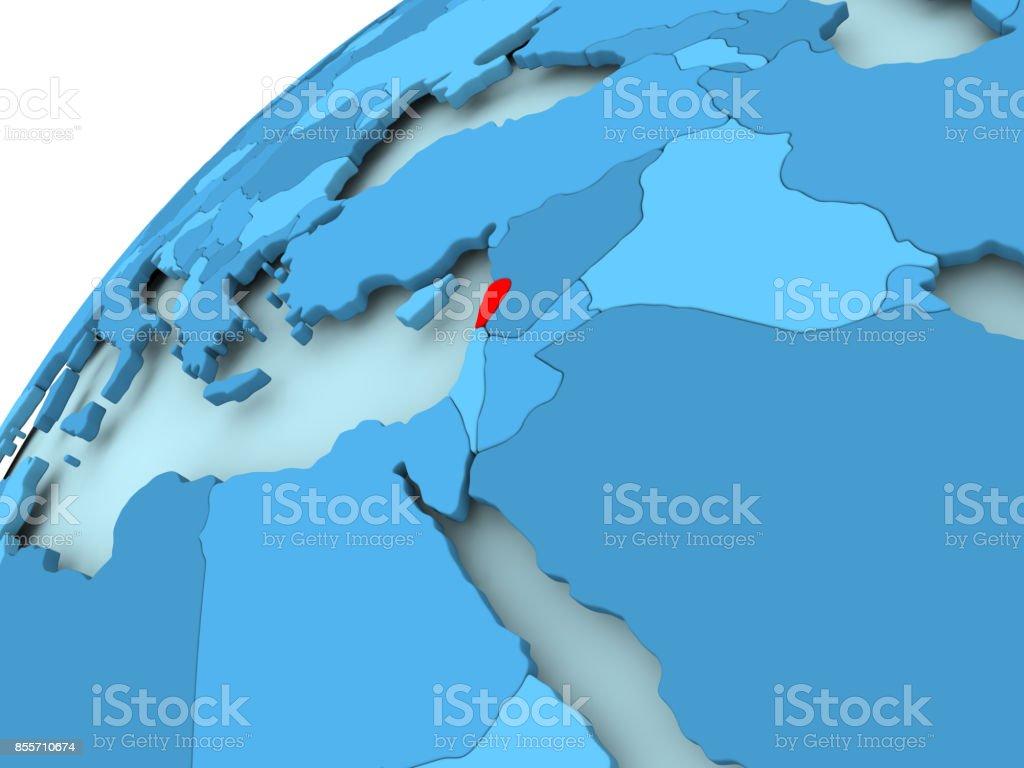 Lebanon on blue globe stock photo