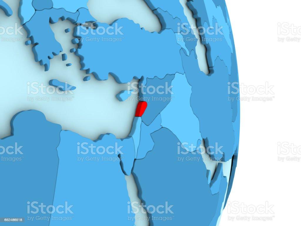 Lebanon on blue political globe stock photo