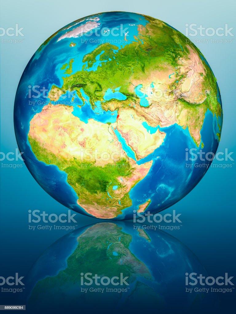 Lebanon on Earth on reflective surface stock photo