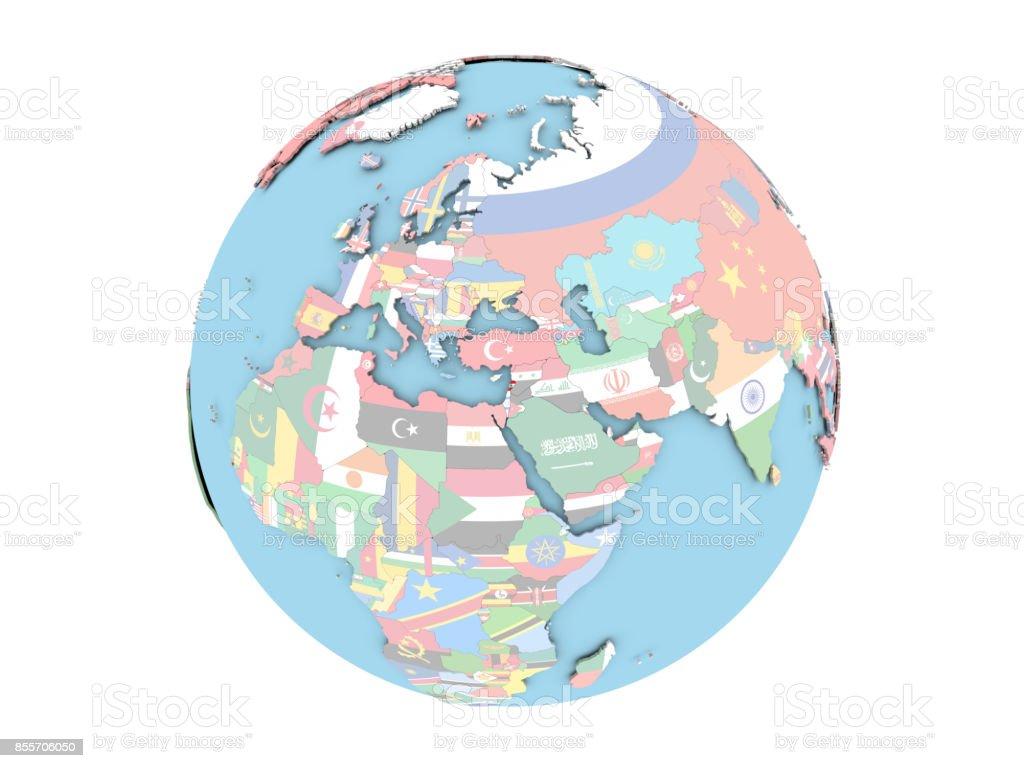 Lebanon on globe isolated stock photo