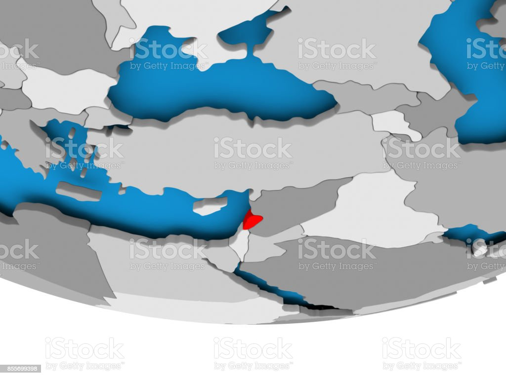 Lebanon on globe stock photo