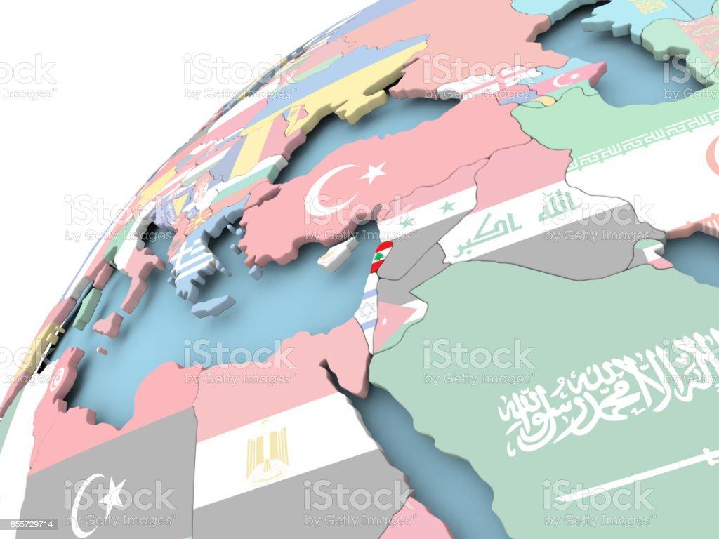 Lebanon on globe with flag stock photo