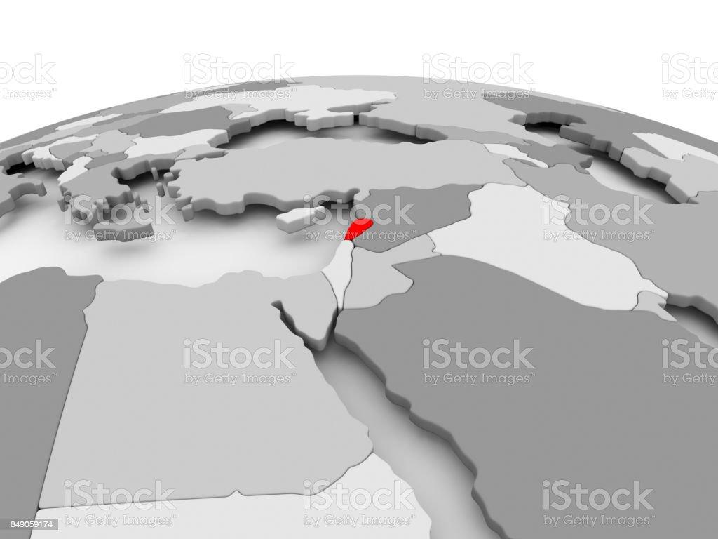 Lebanon on grey globe stock photo