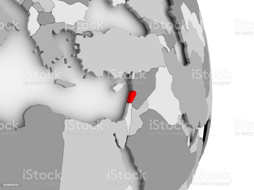 Lebanon on grey political globe stock photo